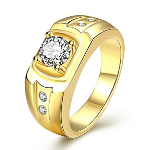 ieftine Inele-Bărbați Barbati femei Inel Inel de Logodnă Zirconiu Cubic 1 Bucată Șampanie Auriu Argintiu Placat Auriu Petală Nuntă Petrecere Bijuterii