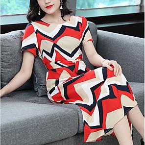 Χαμηλού Κόστους Print Dresses-Γυναικεία Μακρύ Ρουμπίνι Φόρεμα Swing Συνδυασμός Χρωμάτων Τ M Λεπτό