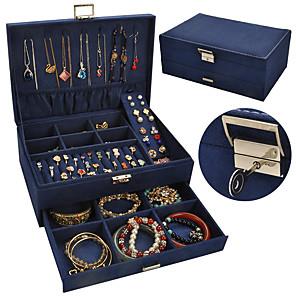 ieftine Cutie de bijuterii și afișaj-Cutie de bijuterii - Piele Cearceaf, Negru, Albastru 27 cm 18.5 cm 10.5 cm / Pentru femei