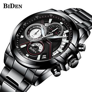 ieftine Ceasuri Bărbați-BIDEN Bărbați Oțel Inoxidabil Quartz Stil Oficial Sport Oțel inoxidabil Negru / Argint 30 m Rezistent la Apă Calendar Zone Triple De Timp Analog Lux Modă - Negru Argintiu