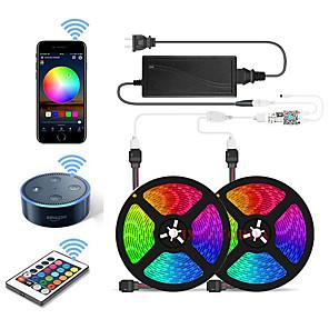 povoljno RGB trakasta svjetla-2x5M Savitljive LED trake / Setovi svjetala / RGB svjetleće trake 300 LED diode SMD5050 10mm 1 12V 6A adapter / 1 24Ključuje daljinski upravljač 1set Vodootporno / APP kontrola / Cuttable 85-265 V