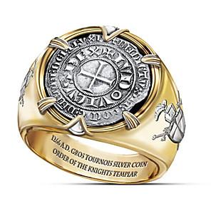 povoljno Prstenje-Muškarci Prsten 1pc Zlato Titanium Steel Krug Vojska Party / večernja odjeća Dar Jewelry Klasičan Kereszt