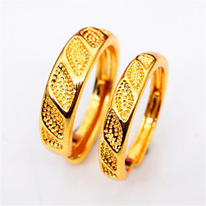 ieftine Inele Cuplu-Pentru cupluri Inele Cuplu 2pcs Auriu Articole de ceramică Placat Auriu Rotund Modă Zi de Naștere Petrecere / Seară Bijuterii Geometric Prețios