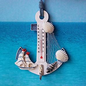 ieftine Breloage-termometru ancoră formă de cârlig de perete lemn nautic conch acasă agățat meșteșuguri artă cuier de perete decorațiuni stil mediteranean