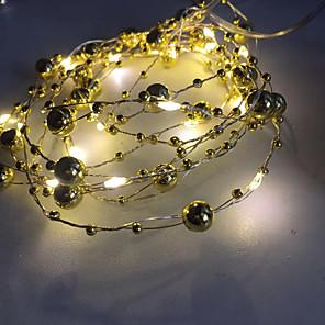 ieftine Fâșii Becurie LED-sârmă de perle, leduri de sârmă de cupru, lumini de sfoară pentru nuntă