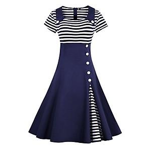 Χαμηλού Κόστους Print Dresses-Γυναικεία 2020 Κρασί Μαύρο Φόρεμα Κομψό Εκλεπτυσμένο Ανοιξη καλοκαίρι Φόρεμα Γραμμή Α Ριγέ Γιακάς Peter Pan Patchwork Τ M / Βαμβάκι