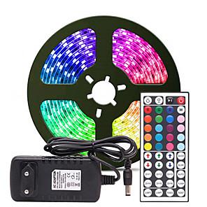 ieftine Benzi Lumină LED-5m Fâșii De Becuri LEd Flexibile / Bare De Becuri LED Rigide / Fâșii RGB 300 LED-uri SMD3528 8mm 1 Controler la distanță de 24 de taste / Adaptor de alimentare de 1 x 2A 1set Multicolor Rezistent la