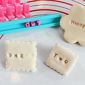 ieftine Ustensile & Gadget-uri de Copt-simboluri alfanumerice tip ștampilă tipărit imprimate cu mucegai pentru biscuiți