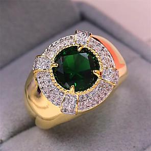 זול סיכות-בגדי ריקוד גברים טבעת 1pc זהב נחושת יהלום מדומה עגול מסוגנן מתנה פֶסטִיבָל תכשיטים קלאסי פרח