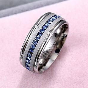 povoljno Pametni satovi-Muškarci Prsten 1pc Srebro Umjetno drago kamenje Titanium Steel Krug Europska Formalan Jewelry Mixed Color