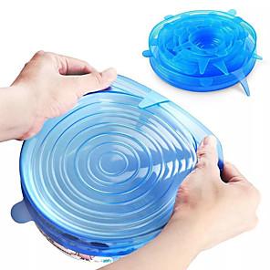 ieftine Măsurători & Cântare de Bucătărie-6 bucăți de silicon extensibile capac reutilizabile etanșe hârtie folie de hrană păstrarea proaspătă sigiliu bol înveliș extensibil capac vase de bucătărie