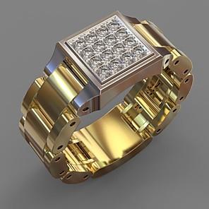 povoljno Prstenje-Muškarci Prsten Belle Ring Kubični Zirconia 1pc Bijela Kamen Pozlaćeni Neregularan Statement Luksuz Party / večernja odjeća Dar Jewelry Geometrijski Podesan za nošenje