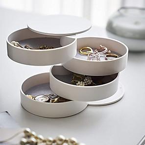 ieftine Cutie de bijuterii și afișaj-Rotund Cutie de bijuterii - Negru, Alb, Roz 10 cm 10 cm 10 cm / Pentru femei