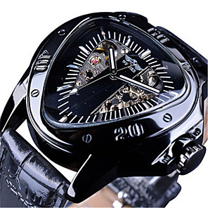 ieftine Ceasuri Bărbați-WINNER Bărbați ceas mecanic Mecanism automat Stil Oficial Sport Piele Autentică Negru 30 m Rezistent la Apă Gravură scobită Mare Dial Analog Clasic Schelet - Negru Negru / Argintiu Negru+Auriu