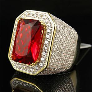 povoljno Prstenje-Muškarci Prsten 1pc Zlato Pozlaćeni Imitacija dijamanta Krug Stilski Party / večernja odjeća Dar Jewelry Klasičan Cvijet