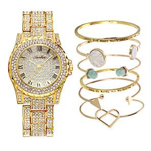 ieftine Inel Ceas-Pentru femei Oțel Inoxidabil Quartz Lux Draguț Analog Roz auriu Auriu Argintiu / Un an / Oțel inoxidabil / imitație de diamant / Un an