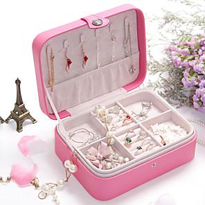 ieftine Cutie de bijuterii și afișaj-Cutie de bijuterii - Piele Cearceaf, Roz Deschis, Negru 20.5 cm 16 cm 7.5 cm / Pentru femei
