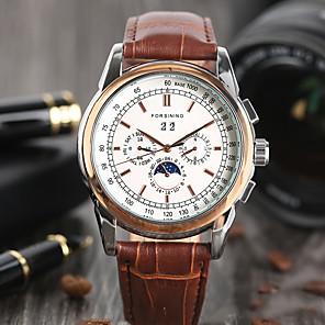 ieftine Ceasuri Bărbați-Bărbați Ceas Elegant Mecanism automat Piele Maro Ziua intalnirii Analog Elegant Modă - Maro Un an Durată de Viaţă Baterie