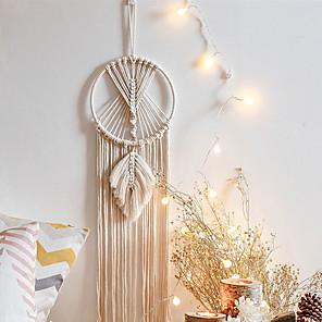 voordelige Wanddecoratie-Boheemse dromenvanger handgeweven katoenen touw tapijt nordic decoratie cadeau