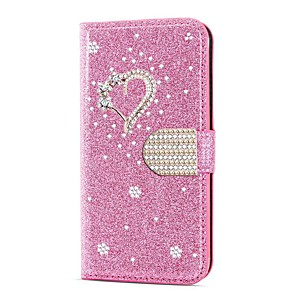 Недорогие Чехол Samsung-чехол для samsung galaxy a51 m40s a71 кошелек противоударный с алмазным блеском сердце кожаный чехол для samsung s20 plus s20 ultra a20e a50s a30s a10 a60 a70 a80 s10e s10 5g s10 plus note 10 plus