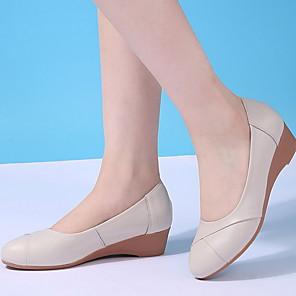 povoljno Samsung oprema-Žene Natikače i mokasinke Wedge Heel Okrugli Toe Koža Proljeće Crn / Bež / Sive boje