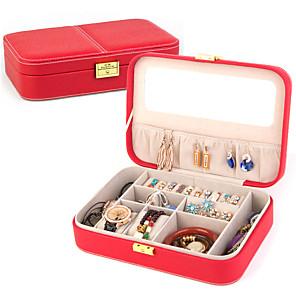 ieftine Cutie de bijuterii și afișaj-Cutie de bijuterii - Piele Roșu, Albastru, Violet 27 cm 19 cm 7 cm / Pentru femei