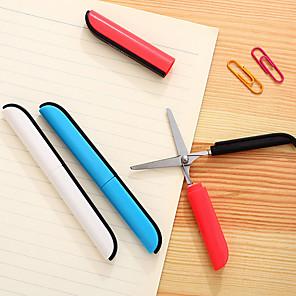 ieftine Papetărie-siguranță drăguț stilou stilou pliabile foarfece portabile foarfeca dreapta stânga cuțit pentru școală sudent birou utilizare idee de cadou