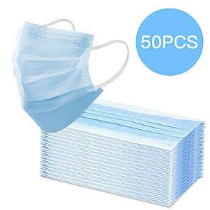 olcso Vérnyomás-50 pcs Arc maszk Vízálló Eldobható Védelem 3 réteg Raktáron Nemszőtt kelme CE Tanúsítvány Kék