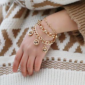 billiga Armband-Dam Armband av Remmar Tappning Armband Armband Multi lager Mode Klassisk Trendig Mode söt stil Elegant Legering Armband Smycken Guld Till Gåva Datum Födelsedag Festival / Hängande armband