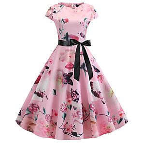 povoljno USB gadgeti-Žene Blushing Pink Haljina Vintage Style Ulični šik Party Dnevno Swing kroj Cvjetni print Print Kolaž Print S M / Pamuk