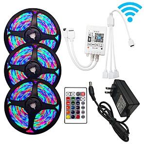 povoljno RGB trakasta svjetla-3x5m wifi kontrole fleksibilne led svjetlosne trake rgb svjetla trake 810 led smd3528 8mm 1 x 12v 3a adapter wifi kontroler 1 set rgb promjena božićna novogodišnja vodootporna reznica