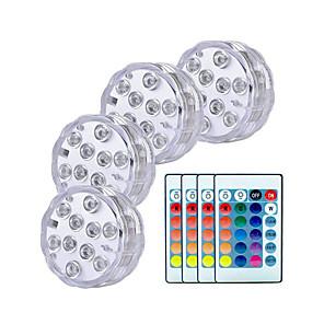 ieftine Aplice de Exterior-4x smd5050 lumini led submersibile ip68 10 led rgb lampa de pescuit subacvatic cu baterie telecomandă wireless multi culori pentru piscină / vază / acvariu iluminare decor