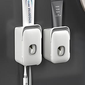 ieftine Gadget Baie-suport de periuță de dinți din plastic, montat pe perete, distribuitor automat pentru pastă de dinți pentru depozitarea periuței de accesorii pentru toaletă