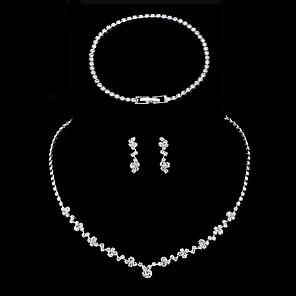 ieftine Inele-Pentru femei Seturi de bijuterii Seturi de bijuterii de mireasă Lantul de tenis Simplu European Modă Elegant cercei Bijuterii Argintiu Pentru Nuntă Petrecere / Seară Cadou Oficial Festival 1set