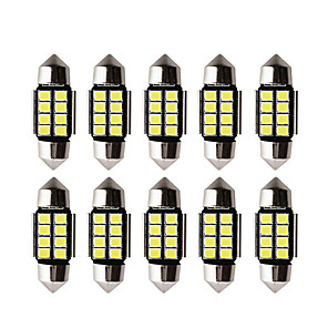 ieftine Lumini de Interior Mașină-10 buc auto led c5w led bec canbus 12v festoon 31mm 36mm 39mm 41mm c5w c10w lampă de citire auto interior lumină 2835 smd alb