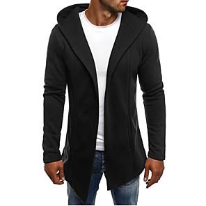 ieftine Bluze de Bărbați și Cardigane-Bărbați Mată Cardigan Manșon Lung Lung Pulover Cardigans Capișon Alb Negru Gri Deschis