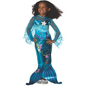 ieftine Costume Moș-Mermaid Coada Aqua Princess Rochii Rochie de fete cu flori Pentru copii Fete A-Line Slip Crăciun Halloween Carnaval Festival / Sărbătoare Elastan Tactel Albastru ocean Costume de Carnaval Vintage