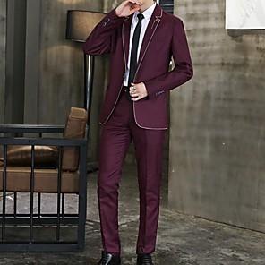 povoljno Bojano-Muškarci odijela Klasični rever Poliester Lila-roza / Crn / Navy Plava