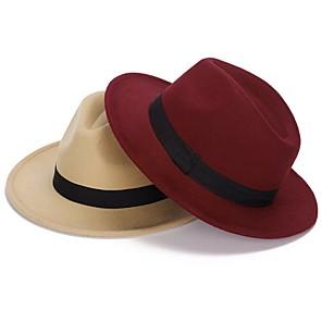 ieftine Pălării Femei-Pentru femei Mată De Bază,Amestecuri de Lână-Floppy Toamnă Iarnă Roșu Vin Roșu-aprins Camel