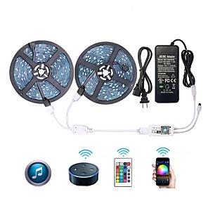 ieftine Convertor de Voltaj-Kit de lumini cu bandă inteligentă zdm wifi 2 x 5m 5050 rgb bandă de lumină funcționează cu gradina google home wifi wireless telefon inteligent controlat led led 32.8ft 300 leds& Alimentare