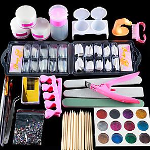 ieftine Produse Fard-Proiecte pentru unghii 2020 set de unghii acrilice manichiura set 12 culori sclipici de unghii pulbere decorare pensulă acrilică unghii art instrument kit pentru incepatori arylic lichid kit de unghii