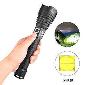 ieftine lanterne-xhp90 Lanterne LED Rezistent la apă 6000 lm LED LED 1 emițători 3 Mod Zbor cu Cablu USB Rezistent la apă Profesional Durabil Înfiorător Camping / Cățărare / Speologie Utilizare Zilnică Ciclism USB