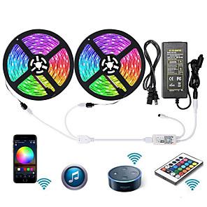 povoljno RGB trakasta svjetla-zdm wifi pametni LED svjetla traka svjetlo 2 x 5m 5050 rgb traka svjetlo rad s alexa google home wifi bežični pametni telefon kontrolirani led set 32.8ft 300 led konop svjetlo vodootporan& 12v