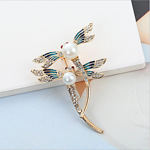 povoljno Broševi-Žene Kubični Zirconia Broševi Klasičan Dragonfly Stilski Jednostavan Klasik Broš Jewelry Zlato Srebro Za Party Dar Dnevno Rad Festival