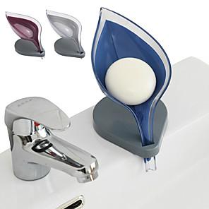 ieftine Gadget Baie-Forma de frunze cutie de săpun baie de săpun suport pentru vase farfurie placă de depozitare tavă baie suport de săpun caz de baie furnizări obiecte de baie