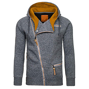 ieftine Bluze de Bărbați și Cardigane-Bărbați Pulover cu glugă Zip Up Hoodies Culoare solidă Capișon De Bază Hoodies hanorace Zvelt Negru Gri Deschis Gri Închis / Toamnă / Iarnă