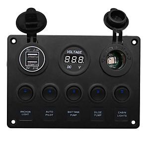 Недорогие Автомобильные зарядные устройства-dc12v 5round подсветка переключателей держатель прикуривателя двойной usb вольтметр автомобильная комбинированная панель / ip65 / широкий спектр применения / цвет освещения синий зеленый красный