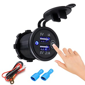 Недорогие Автомобильные зарядные устройства-p1-s сенсорный выключатель 5v 2.1a 1a Dual USB автомобильный моторизованный дом зарядное устройство мобильного телефона 12-24 В с вилкой или с кабелем питания