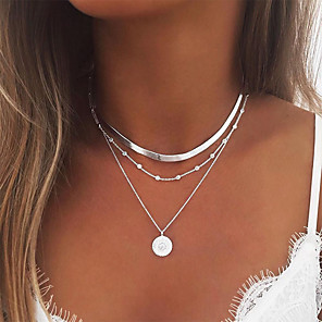 ieftine Colier la Modă-Pentru femei Lănțișor Coliere Layered stivuibil Simplu European Modă Crom Auriu Argintiu 35 cm Coliere Bijuterii 1 buc Pentru Petrecere / Seară Bal Stradă Plajă