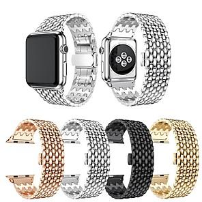 Недорогие Ремешки для Apple Watch-Ремешок для часов для Apple Watch Series 5 / Серия Apple Watch 5/4/3/2/1 / Apple Watch Series 4 Apple Дизайн украшения / Бизнес группа Нержавеющая сталь Повязка на запястье